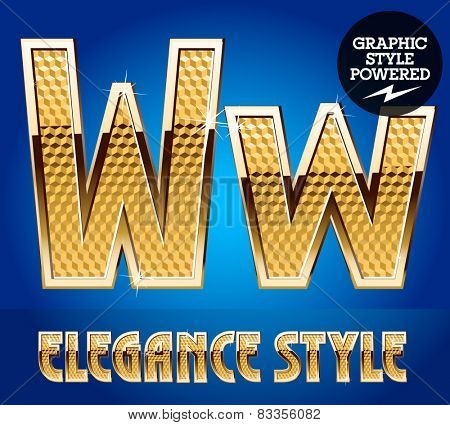 Vector set of rich shining alphabet with golden border. Letter W