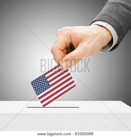 Voting Concept - Male Inserting Flag Into Ballot Box - United States
