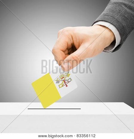 Voting Concept - Male Inserting Flag Into Ballot Box - Vatican City
