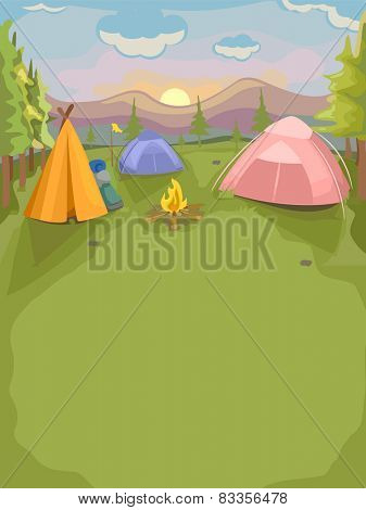 Background Illustration of a Camp Site With Colorful Tents