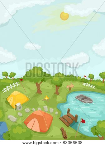 Illustration of a Summer Camp Highlighted by Tents and Boats