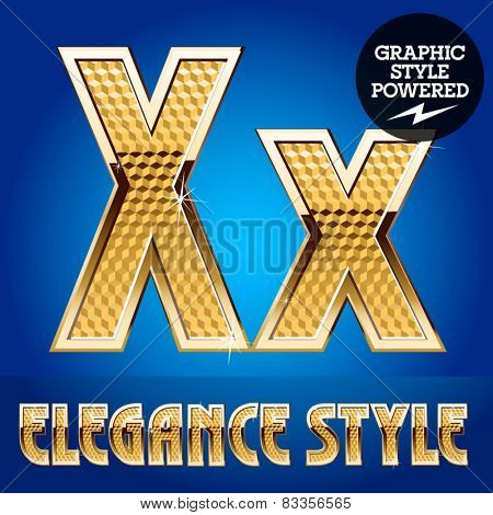 Vector set of rich shining alphabet with golden border. Letter X