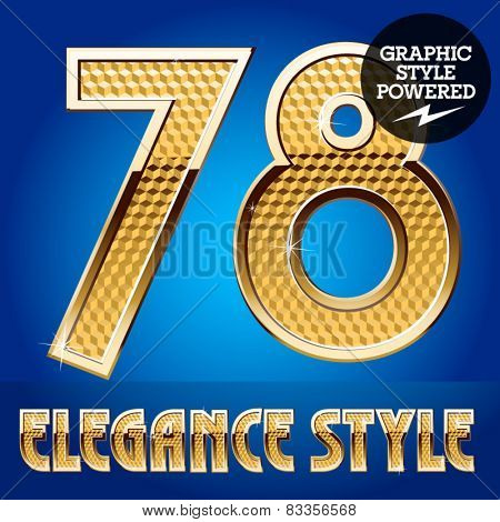 Vector set of rich shining alphabet with golden border. Numbers 7 8