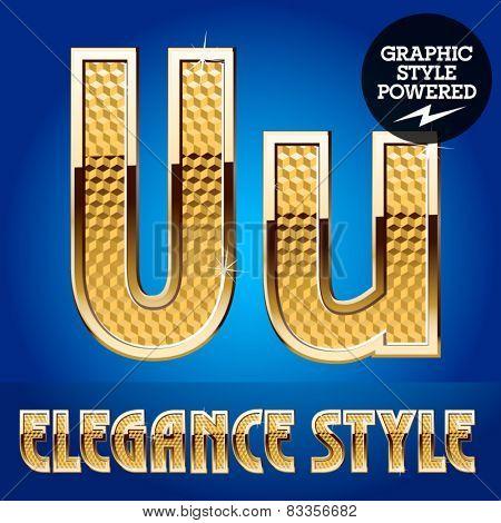 Vector set of rich shining alphabet with golden border. Letter U