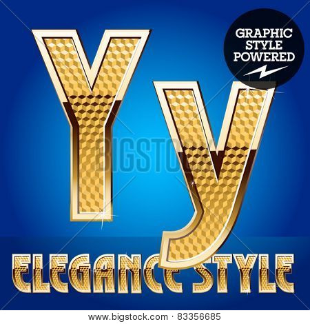 Vector set of rich shining alphabet with golden border. Letter Y