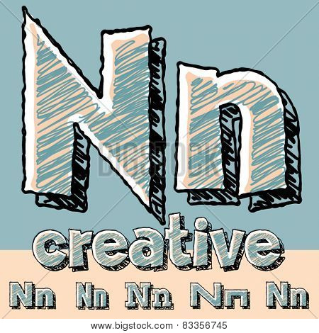 Funny sketch alphabet. Vector illustration of hand drawing font. Letter N