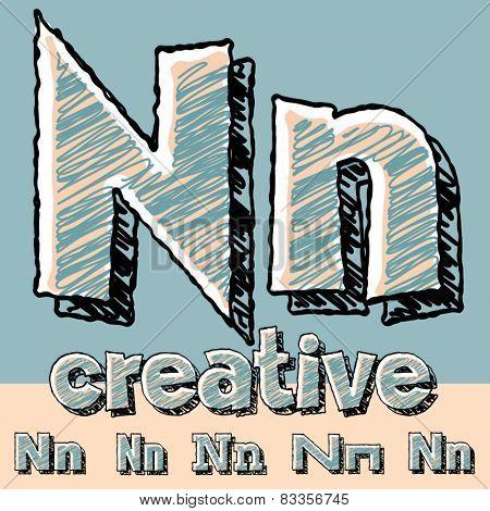 Funny sketch alphabet. Vector illustration of hand drawing font. Letter N