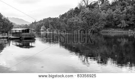 Adda river shores, Lombardy (Northern Italy). Black and white photo