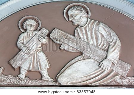MARIJA BISTRICA, CROATIA - JULY 14: Saint Joseph with child Jesus, Basilica Assumption of the Virgin Mary in Marija Bistrica, Croatia, on July 14, 2014