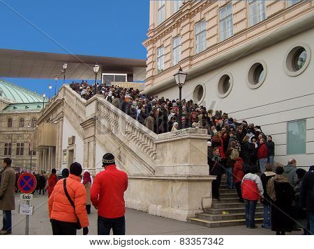 Visitors Queueing At The Albertina Gallery In Vienna