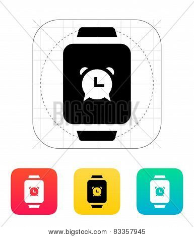 Alarm clock in smart watch icon.