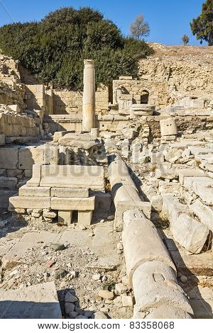 Remains Of Water Pipes, Columns And Buildings In The Ruins Of An Ancient City