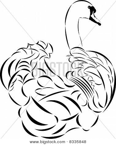 Vector tattoo style swan.