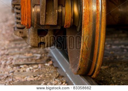 Train wheel on railroad track