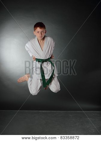 Posture of the young karate sportsman