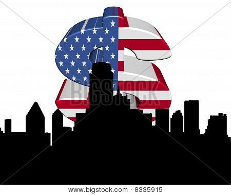 Dallas Skyline American Flag Dollar