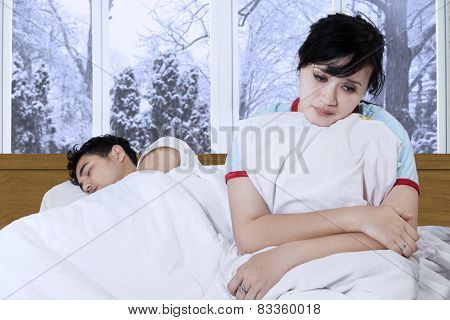Disappointed Girl On Bed
