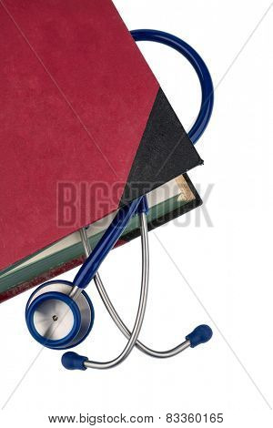 book and stethoscope, symbolic photo for bungling doctors errors and expertise