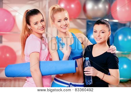 Beautiful women in sports club
