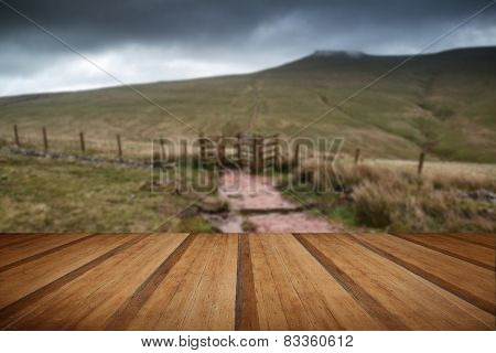 Landscape Image Of Corn Du Peak In Brecon Beacons Mountain Range In Britain With Wooden Planks Floor