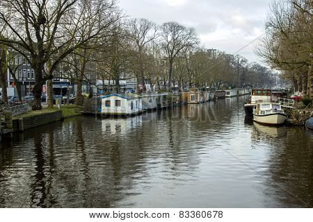 Early Morning Winter View On One Of The Unesco World Heritage City Canals Of Amsterdam, Netherlands.