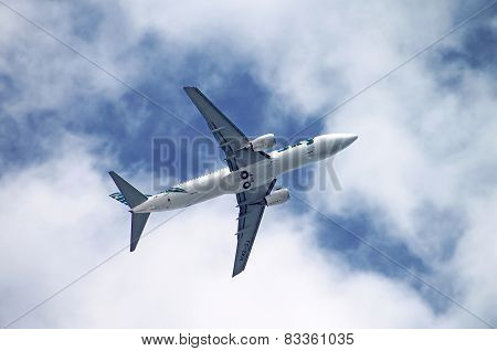 Sky Airlines Boeing 737-800 Is Flying Over Antalya, Turkey