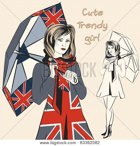 Fashion Trendy Girl Hold Umbrella With British Flag Print