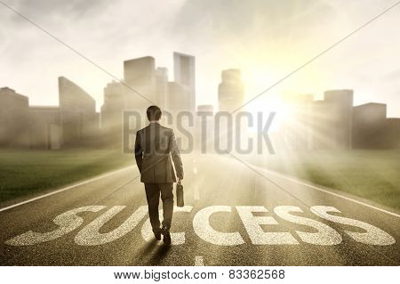 Manager Walking On The Road To Success