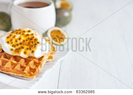 Waffles With Cream And Passionfruit Background