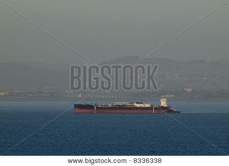 Cargo Ship Rest In San Francisco Bay Outside Of Oakland Harbor