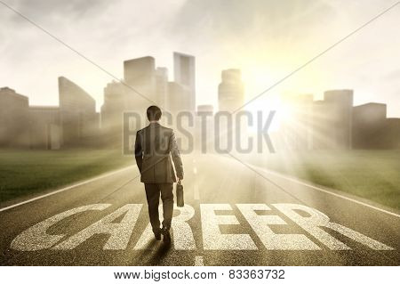Worker Walking To Get Bright Career