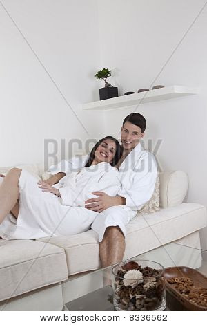 Young couple in white
