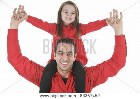a happy family member. A father with daughter on his shoulder.
