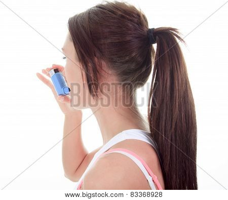 An asthma young adult over white background