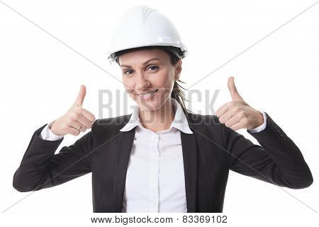 Attractive architect wearing helmet. All on white background.