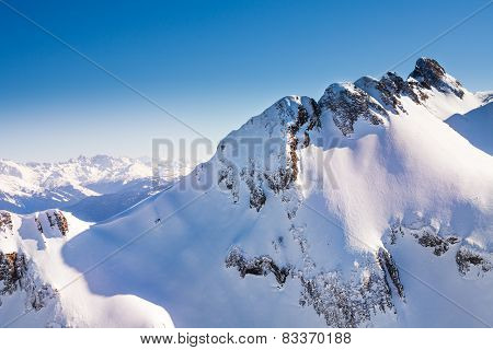 Caucasus mountains high view during winter