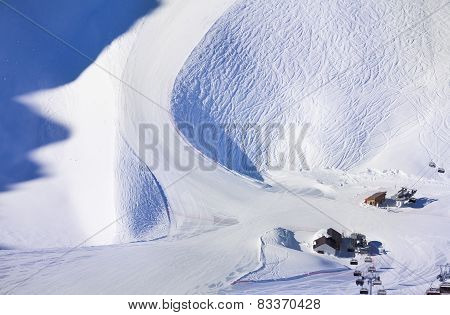 Beautiful winter landscape of Caucasus snow slope