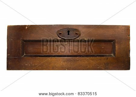 Isolated old chest door.