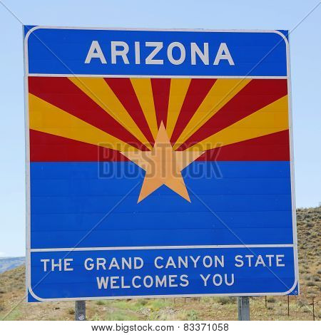 State of Arizona road sign at the state border