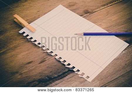 Note Book Paper With Pencil