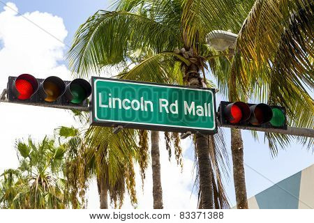 Lincoln Road Mall Street Sign Located In Miami Beach