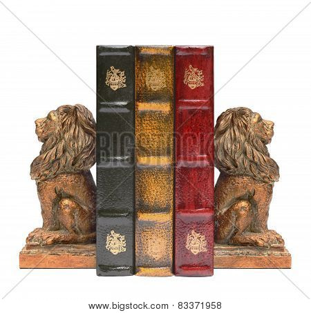 Lion Bookends and old books