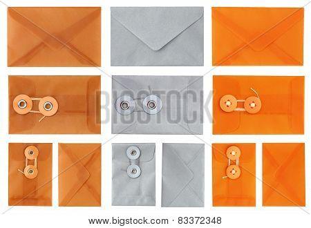 Envelopes in Orange Silver and Tan