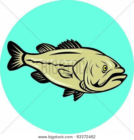 Largemouth Bass Fish Side Circle Cartoon