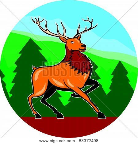 Red Stag Deer Side Marching Circle Cartoon