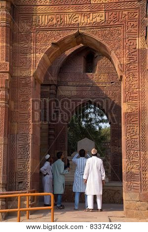 Delhi, India - November 4: Unidentified Men Stand At The Tomb Of Altamish In Qutub Minar Complex On