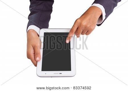 Businessman hands holding and pointing on contemporary digital frame with blank screen.