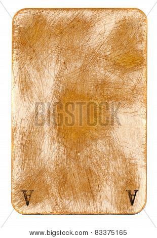 Antigue Rubbed Playing Ace Card Paper Background With Two Letter  Isolated