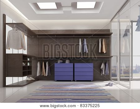 render of luxury apartment dressing room