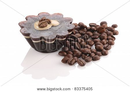 Coffee Dessert  Close-up On White Background Isolate